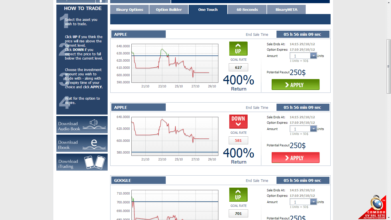 Binary options one touch example