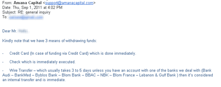 Email From Amana Capital