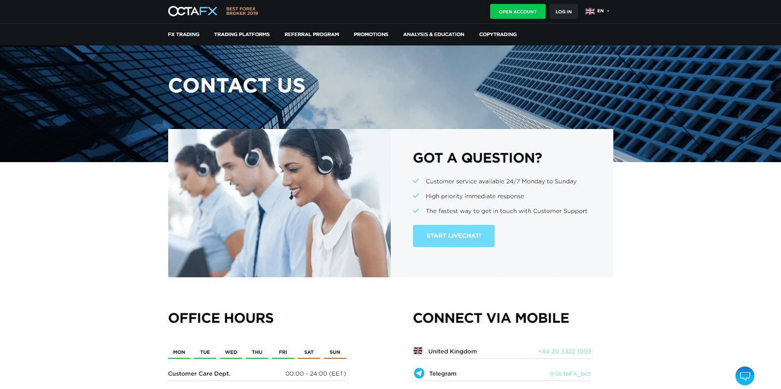 OctaFX Review customer support
