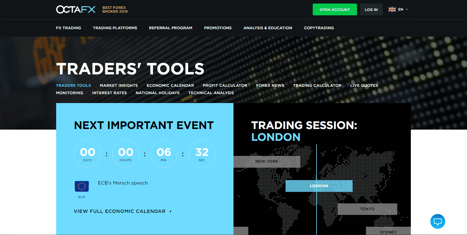 OctaFX Review traders tools