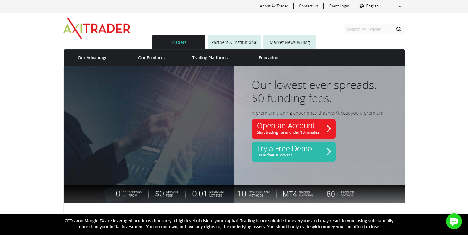 AxiTrader homepage