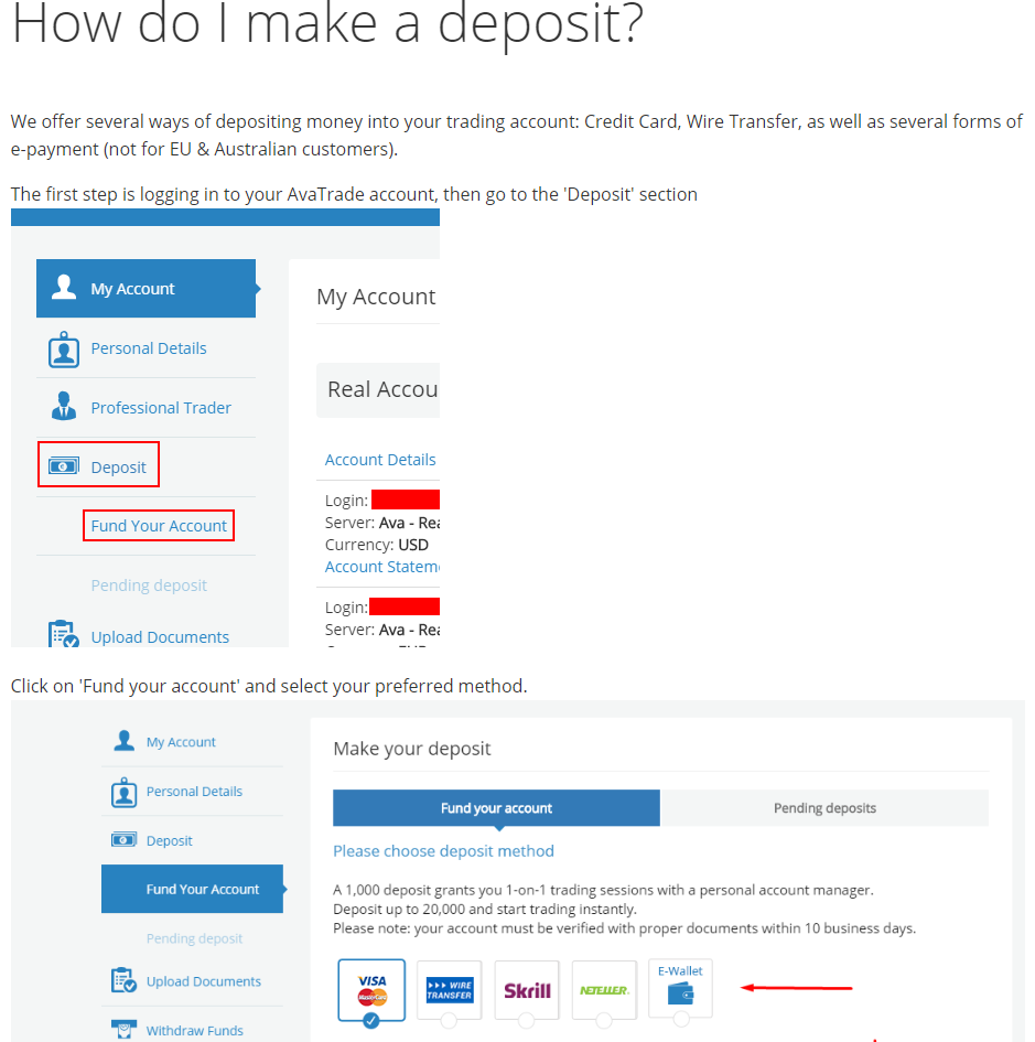 How to Make a Deposit with AvaTrade