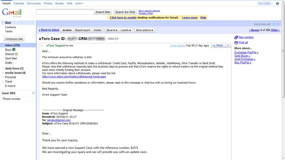 Email von eToro Kundendienst