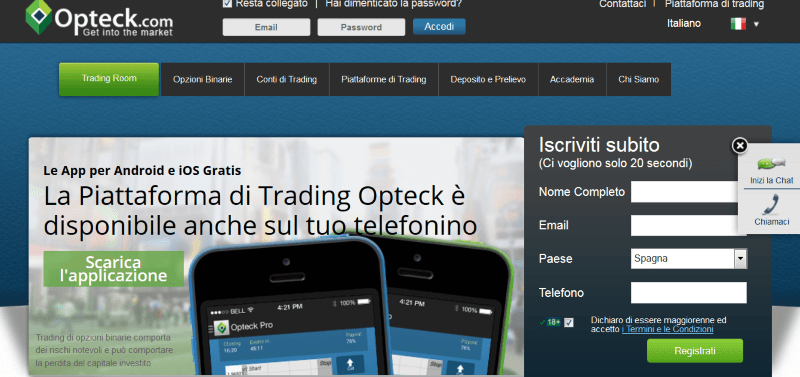 La piattaforma trading di Opteck