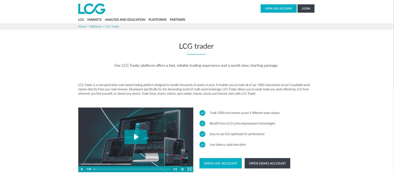 LCG Trader trading platform